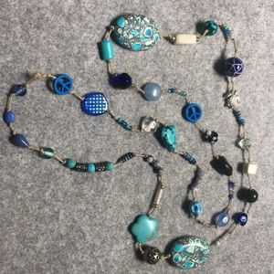 44 inch long beautiful statement blues necklace.